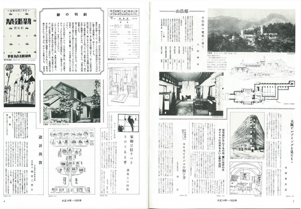 1925 magazine digest. Top left: The front cover of the first Shinkenchiku issue (August 1925), the first address, table of contents